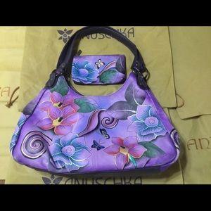 Anuschka Retired Purple Floral Hobo Handbag